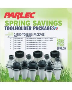 Parlec CAT50 Tooling Packpage 10 Piece Set