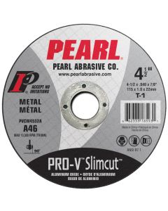 Pearl PVCW4532A 4-1/2 x .040 x 7/8 Aluminum Oxide Pro-V Thin Cut-off Wheels (Pack of 25)
